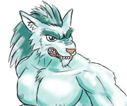 Gペン・マーカー 青緑オオカミ獣人顔