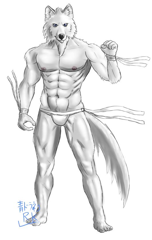 Gペン・マーカーオリ灰色狼獣人包帯付き