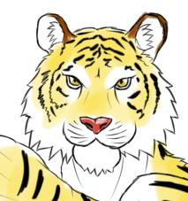 Gペン・マーカー 赤褌で構える虎顔