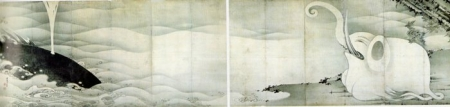象と鯨屏風 伊藤若冲