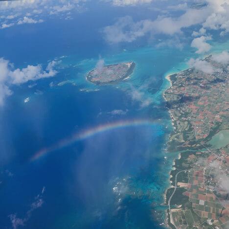 飛行機からの虹 宮古島