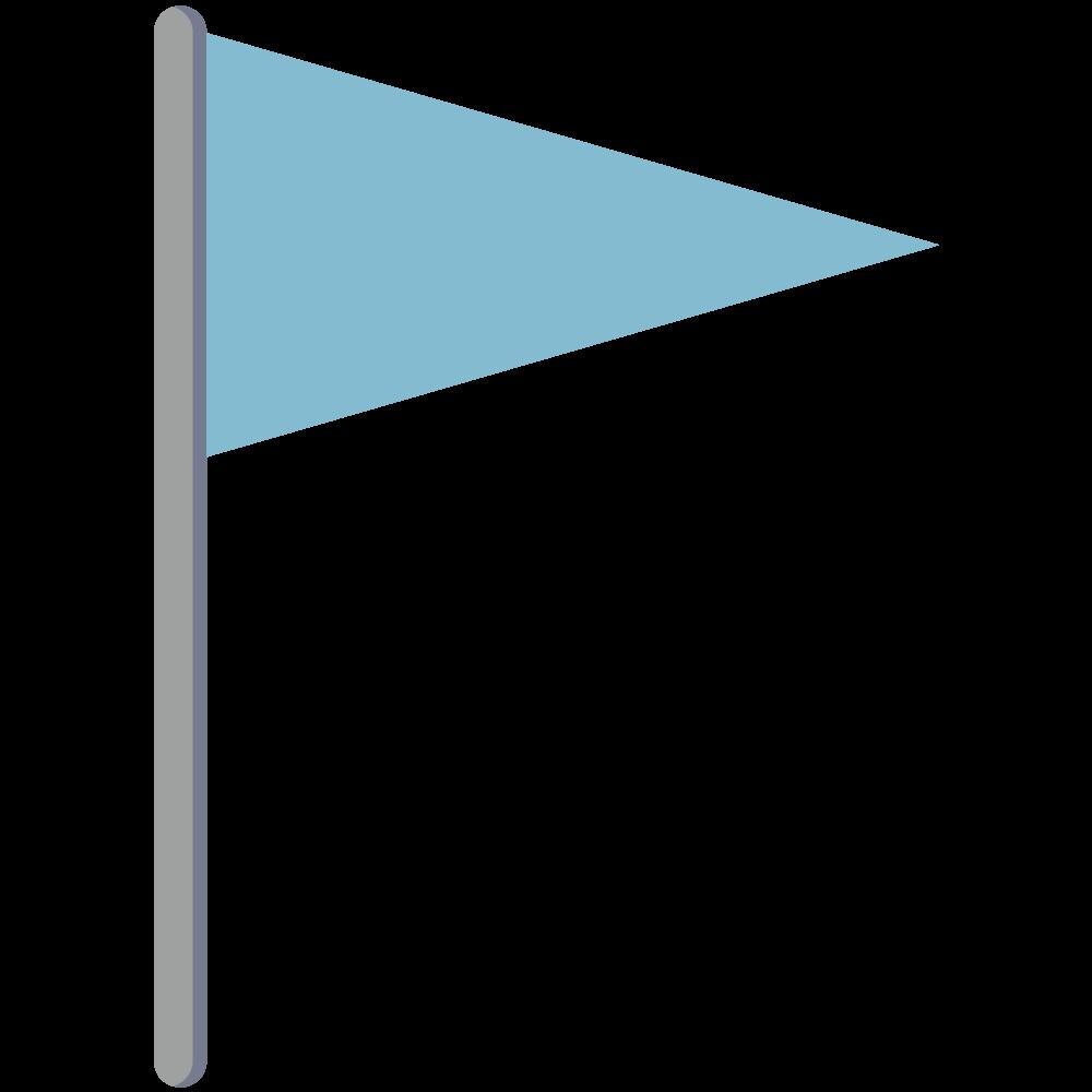シンプルでかわいい地図上で現在地を示す青い旗のアイコン