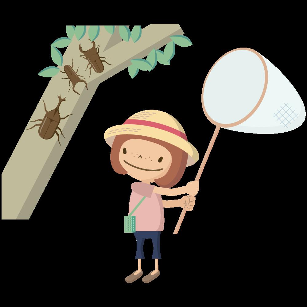 かわいい麦わら帽子をかぶった女の子が虫取りをしているイラスト