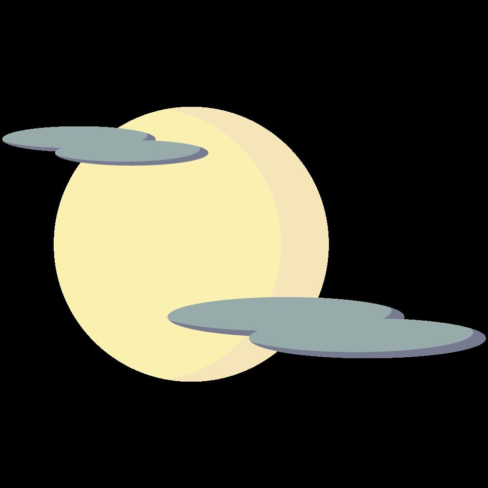 シンプルでかわいい雲がかかった月のイラスト