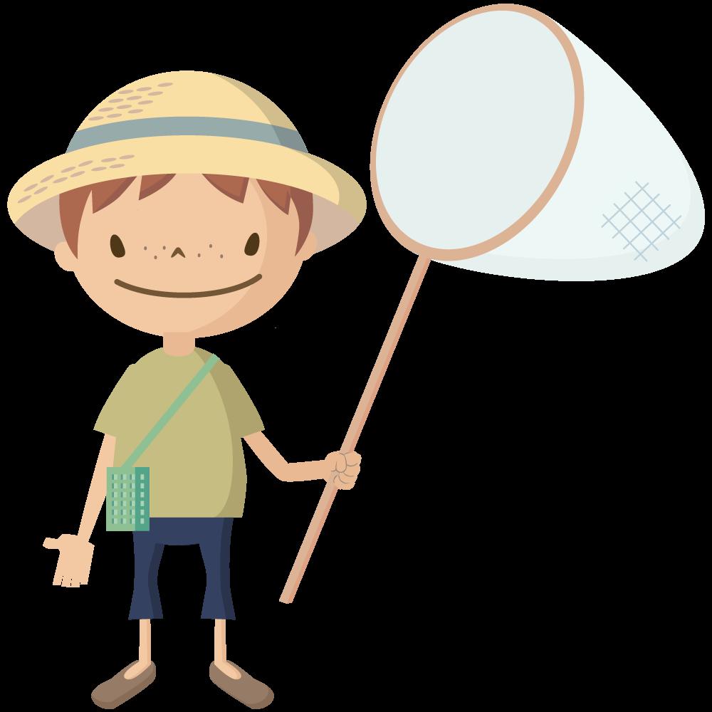 かわいい麦わら帽子をかぶった男の子が虫取り網を持っているイラスト