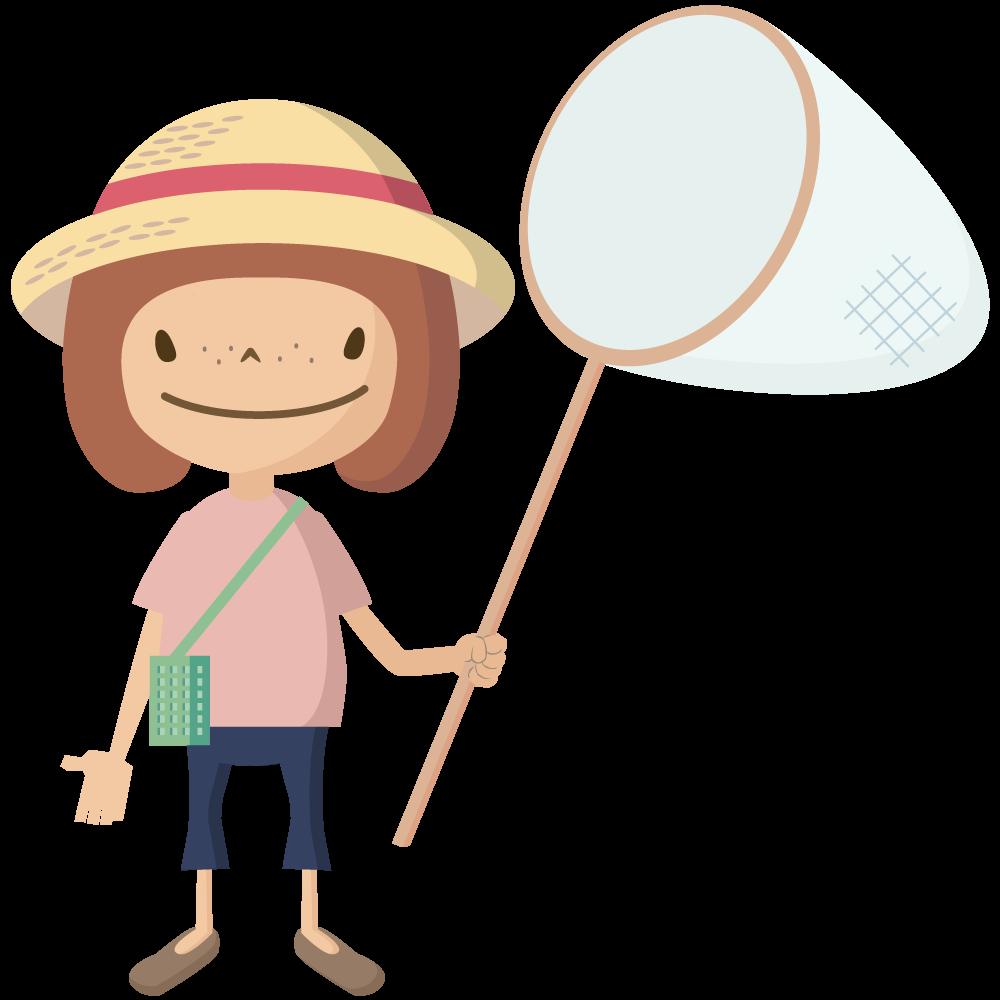 かわいい麦わら帽子をかぶった女の子が虫取り網を持っているイラスト