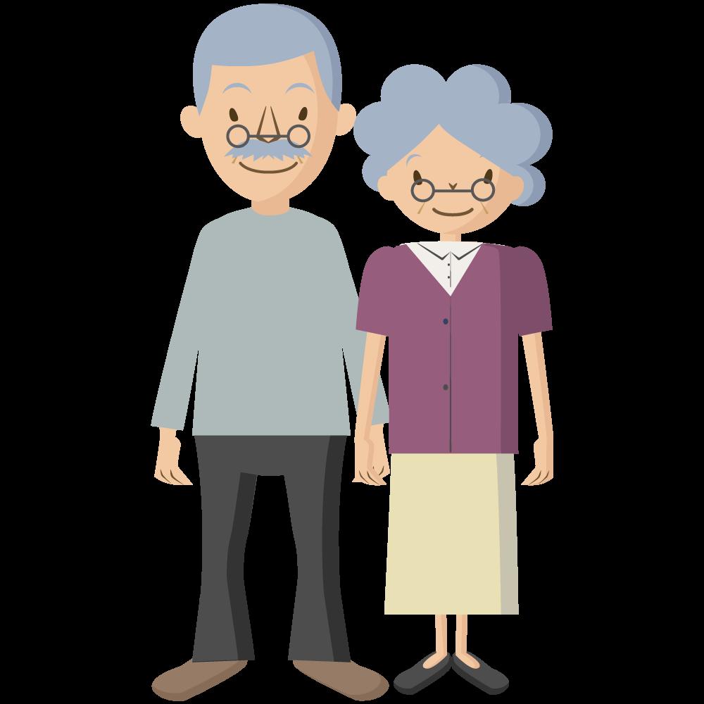 シンプルでかわいい祖父と祖母の老夫婦敬老の日イラスト