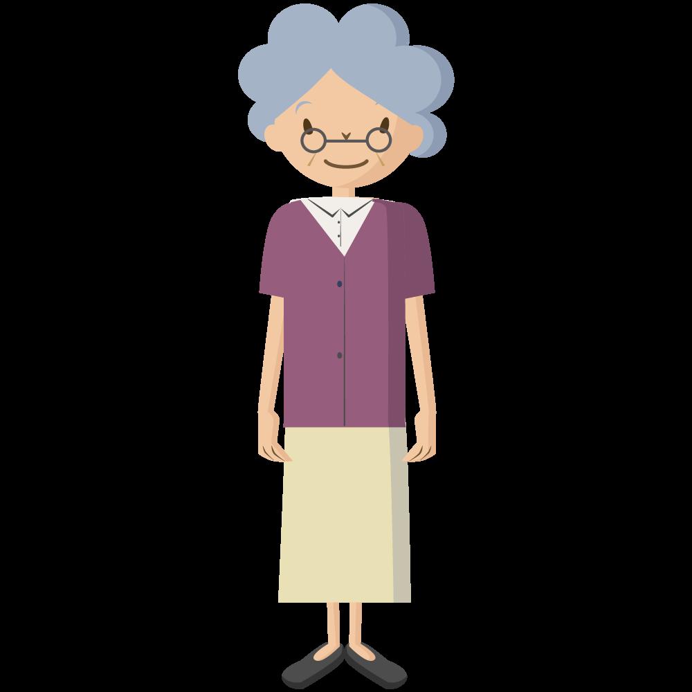 シンプルでかわいい祖母のイラスト