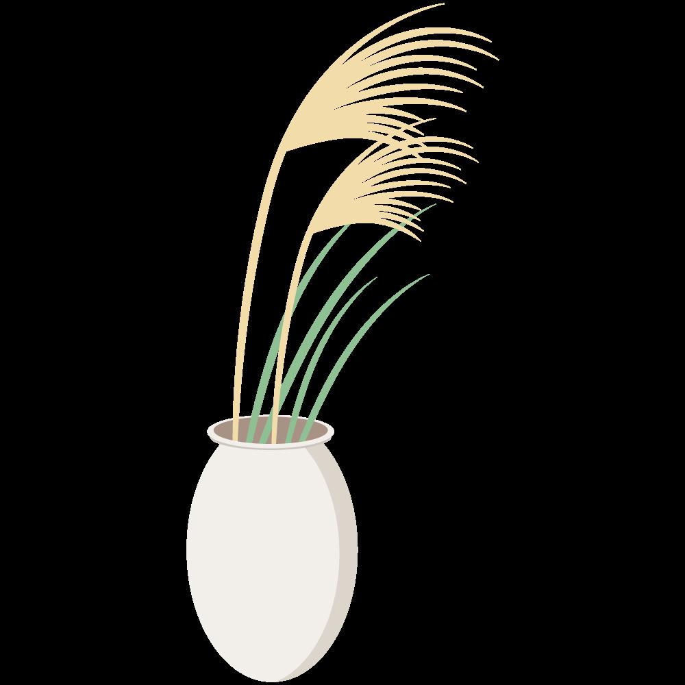 シンプルでかわいい花瓶に入ったススキのイラスト