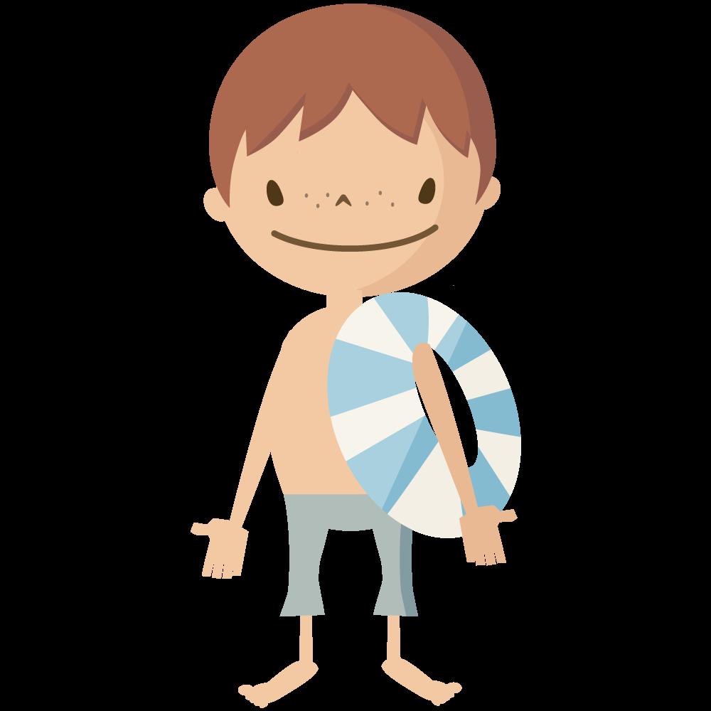 シンプルでかわいい浮き輪を持って海水浴やプールに行く男の子のイラスト