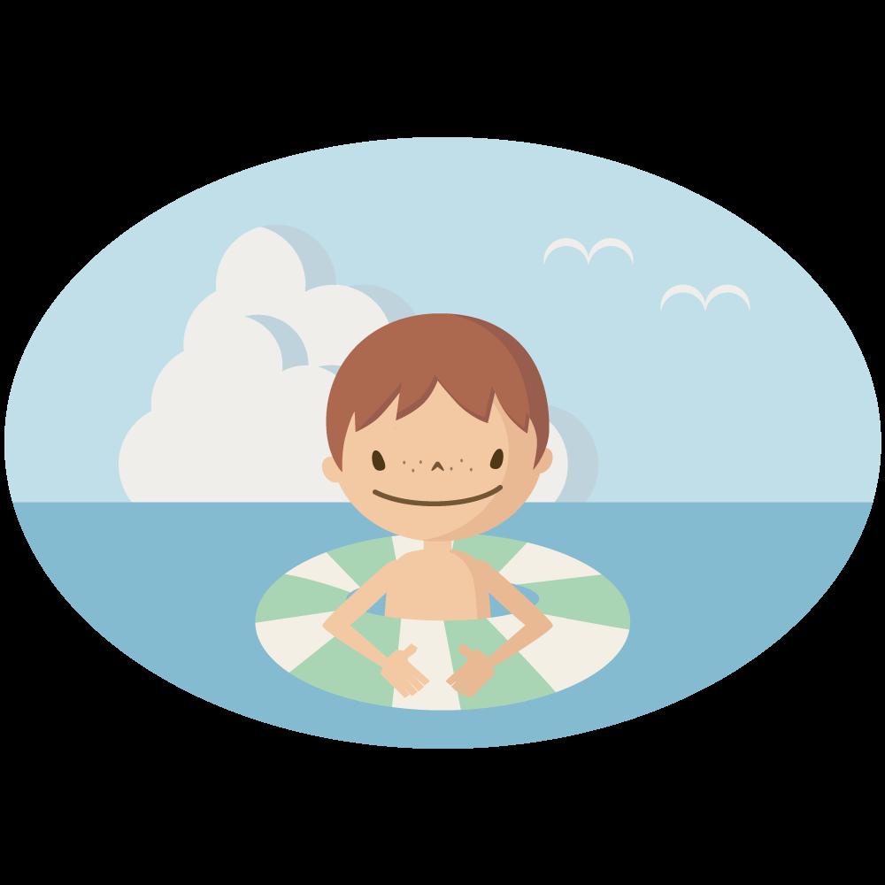 シンプルでかわいい浮き輪で海で泳ぐ男の子のイラスト