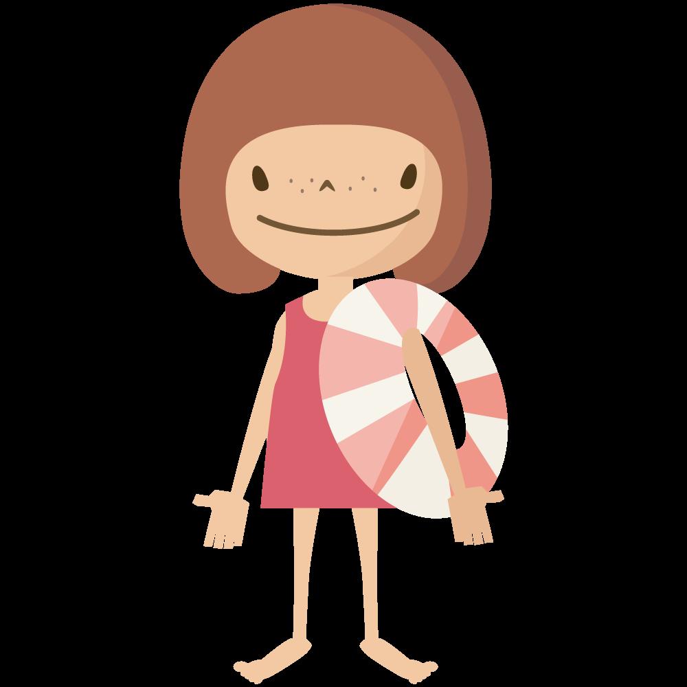 シンプルでかわいい浮き輪を持って海水浴やプールに行く女の子のイラスト