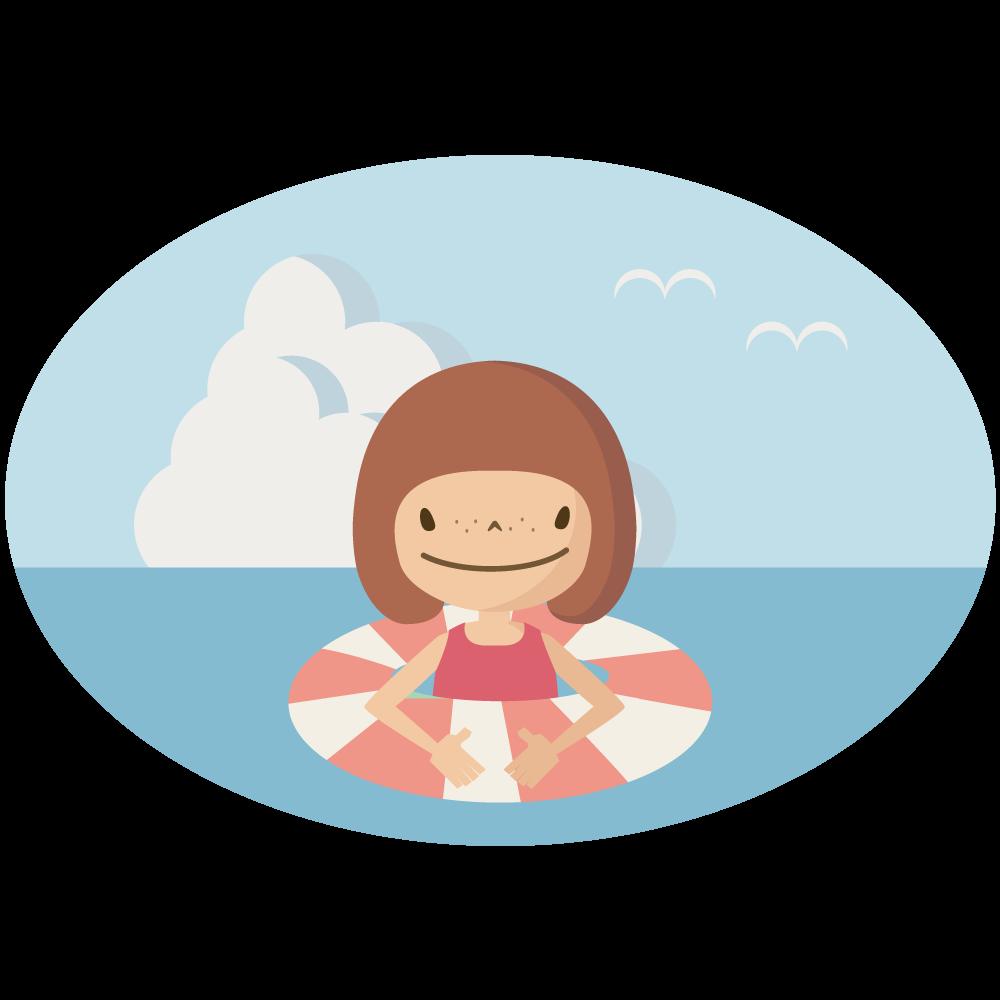 シンプルでかわいい浮き輪で海で泳ぐ女の子のイラスト