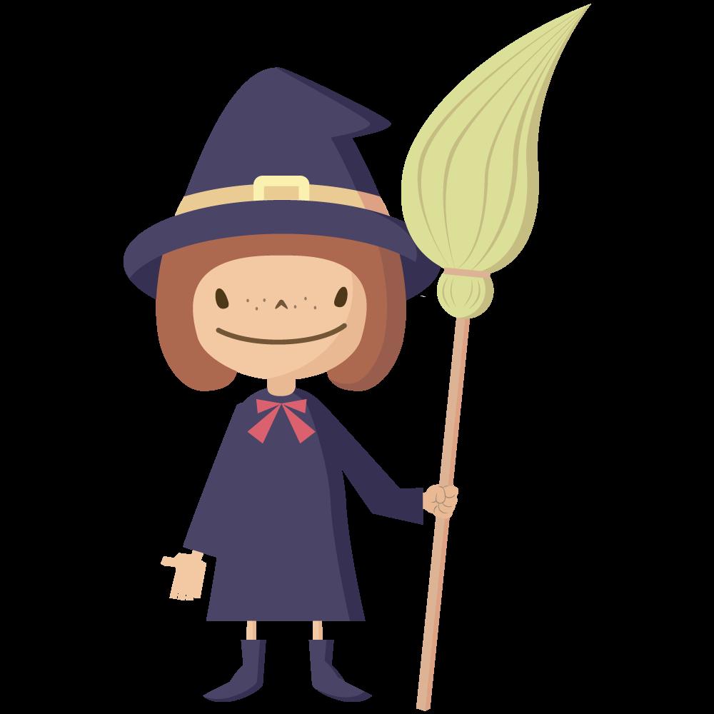 シンプルでかわいいハロウィンで魔女の仮装をした女の子供イラスト