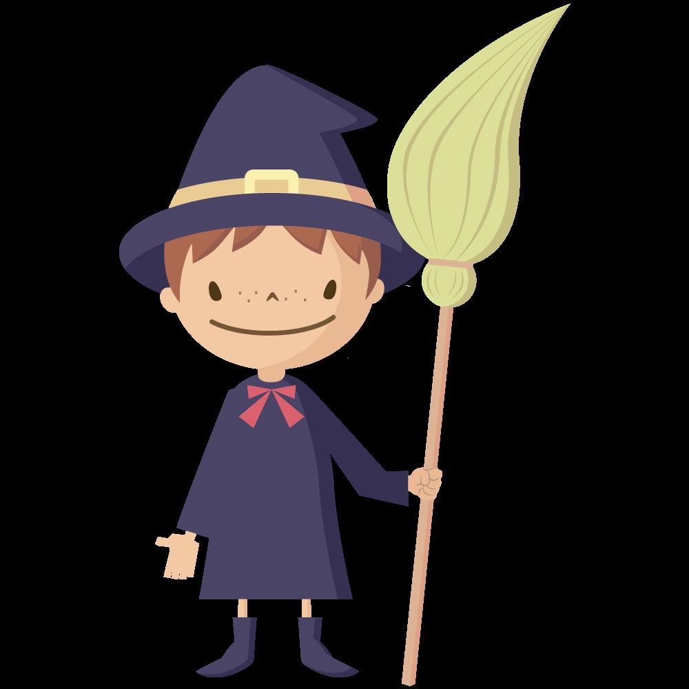 シンプルでかわいいハロウィンで魔女の仮装をした男の子供イラスト