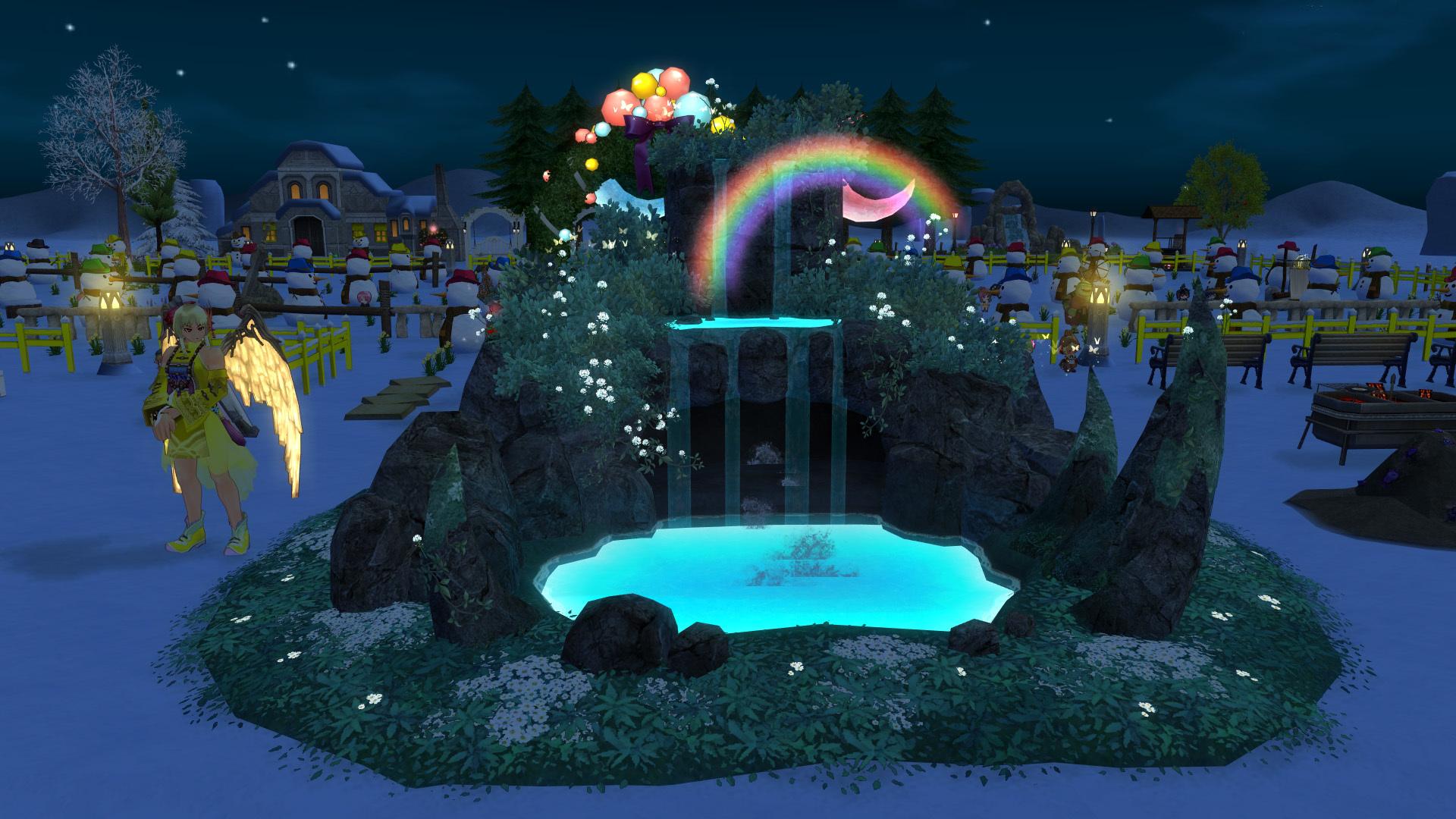 天上の神秘的な滝2