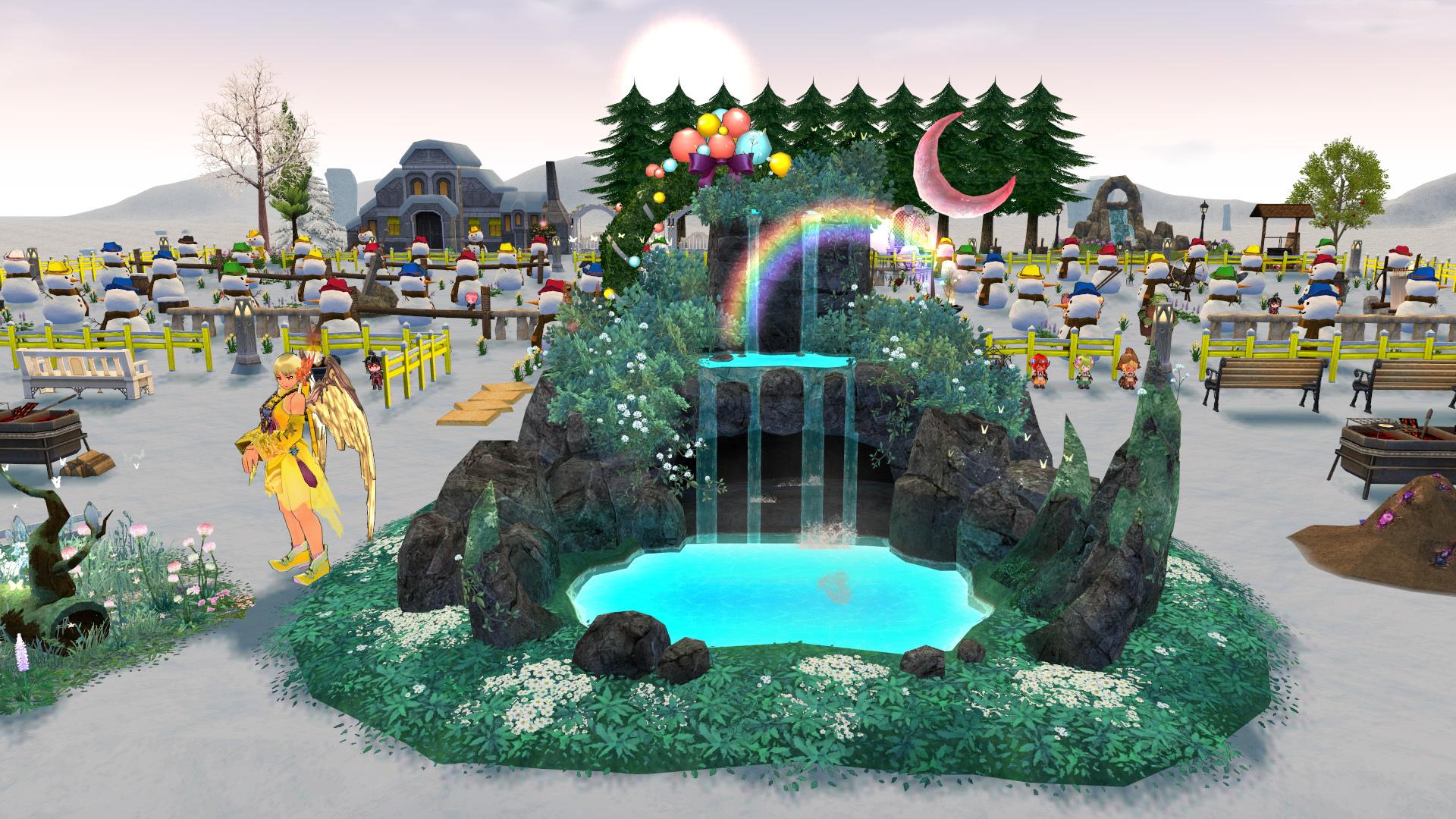 天上の神秘的な滝1
