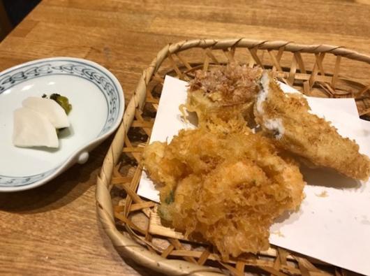 かき揚げ ポワロ葱 穴子の天ぷら