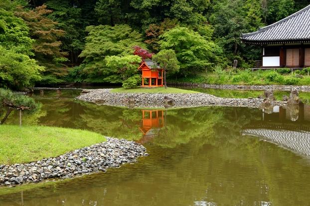 浄瑠璃寺庭園・北東部から見た池泉と中島