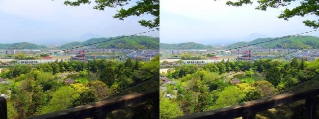 彦根城 附櫓からの滋賀県立彦根総合運動場(平行法)