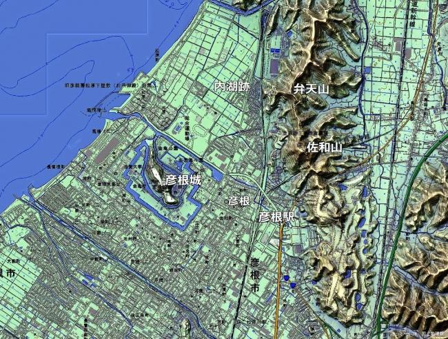 彦根城周辺地形