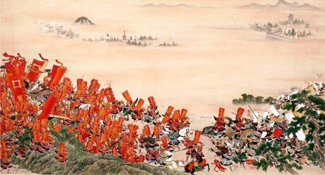 赤備えの井伊直孝隊を描いた『若江合戦図』(彦根城博物館蔵)