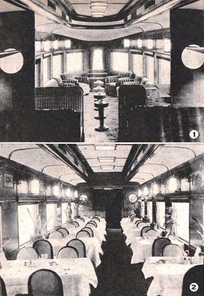 満州あじあ号の客車(科学朝日1942年10月号)①一等展望車・②食堂車