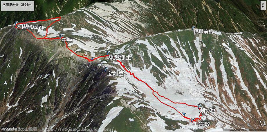 20190808木曽駒ヶ岳ルートマップ