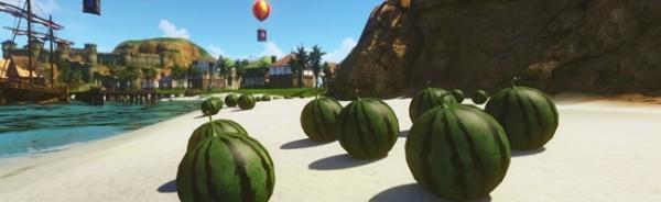 基本プレイ無料の自由系オンラインRPGアーキエイジ、夏の風物詩スイカ割りでお宝GETしよう!イベント「蜃気楼deスイカ割り」を開催したよ