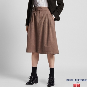 INES DE LA FRESSANGE コットンタックミディスカート