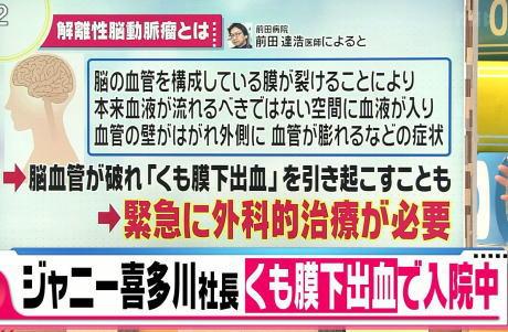ジャニーズ事務所のジャニー喜多川社長(87)、クモ膜出血で入院中と事務所が発表 … 先月18日に体調の異変を訴えて救急搬送されて入院、解離性脳動脈瘤破裂によるくも膜下出血と診断されて治療に専念中