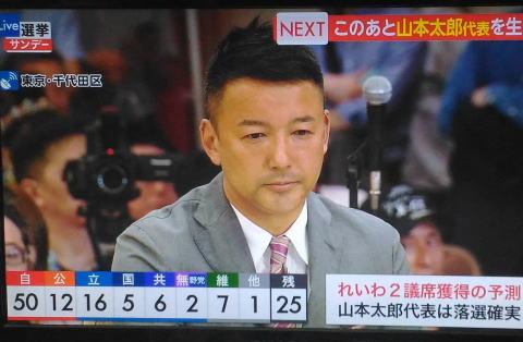 れいわ旋風を巻き起こした、れいわ新選組・山本太郎参院議員が落選確実