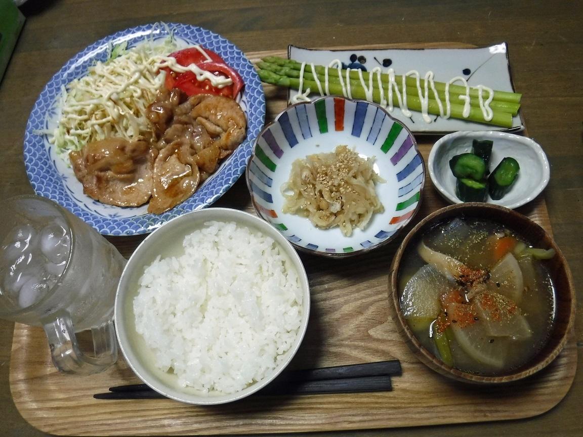 ブログ 夕食 ショウガ焼きとアスパラガス.jpg