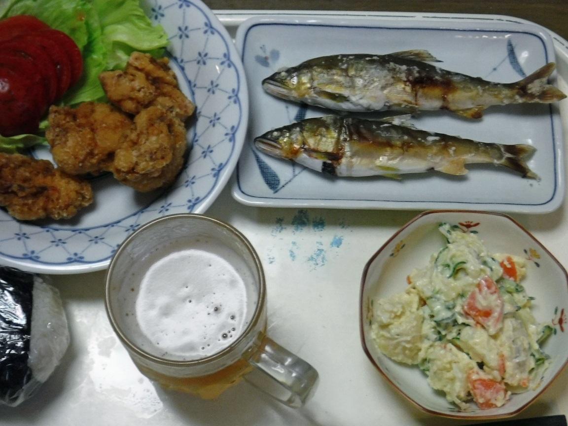 ブログ 夕食  アユの塩焼きお唐揚げ.jpg
