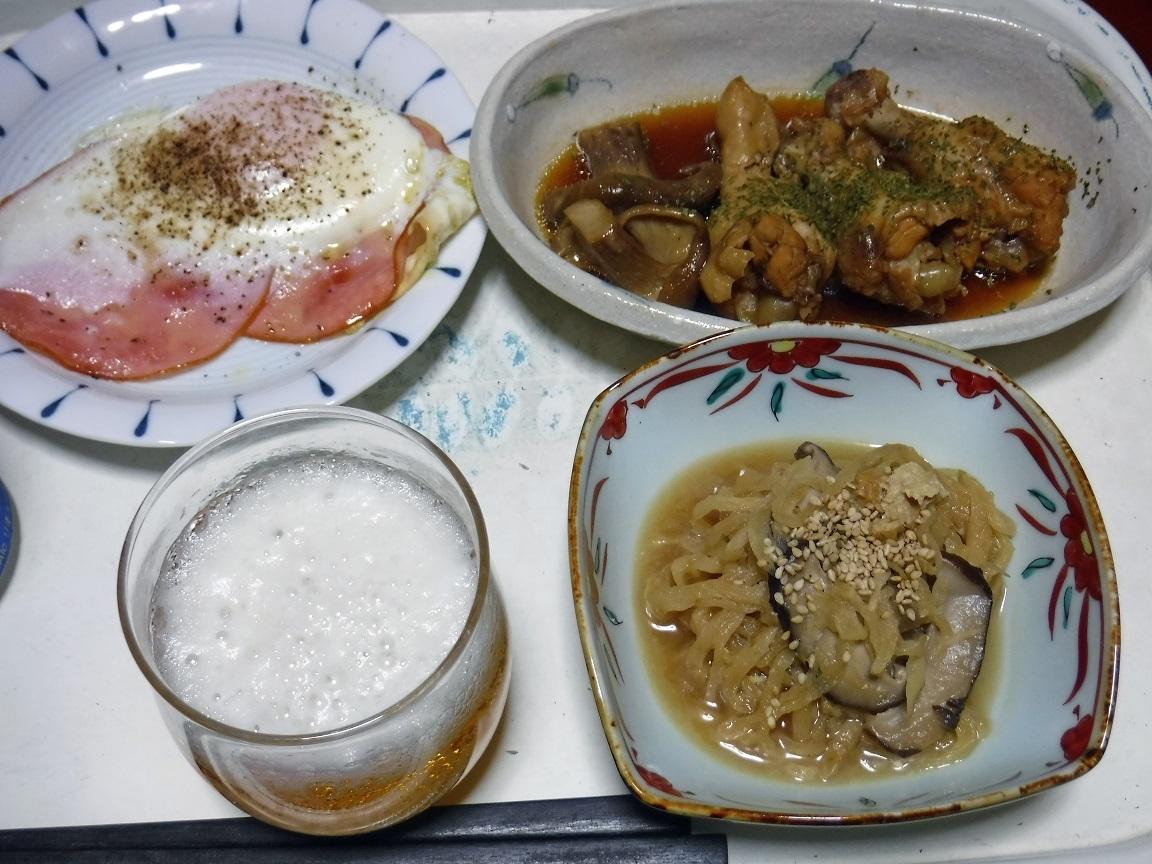ブログ 夕食 鳥の酢煮と切り干し大根の煮物.jpg