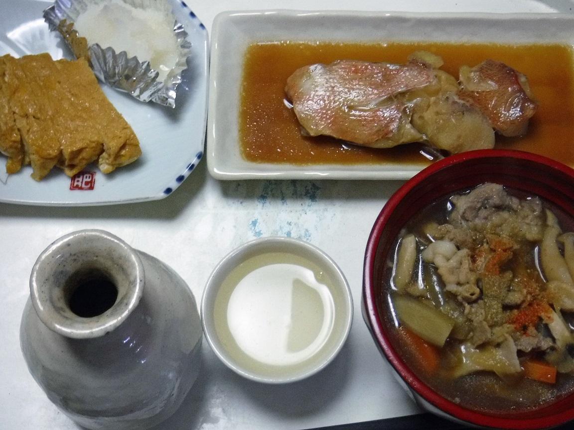 ブログ 夕食  魚の煮つけとトン汁.jpg