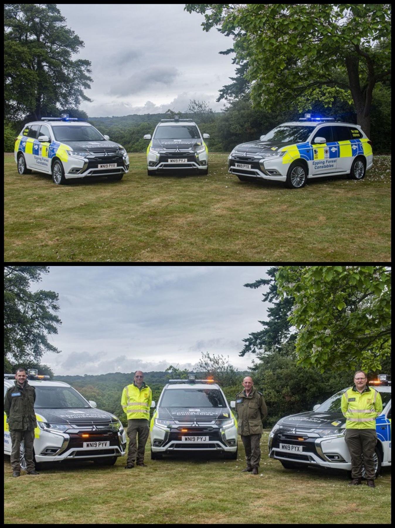 ロンドン森のパトロールカー アウトランダーPHEV