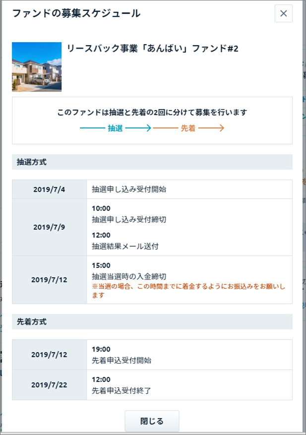 Funds_募集スケジュール