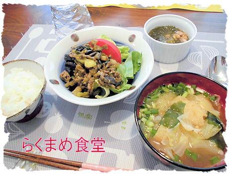 茄子と挽肉のカレー風味定食