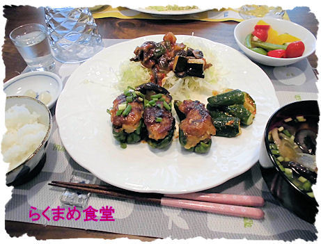 肉詰めピーマン定食