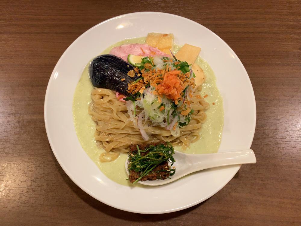 八咫烏 -- 青豆と静岡茶の冷製すりながしラーメン(限定)(2019)