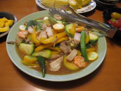 010708夏野菜と魚介の炒め煮