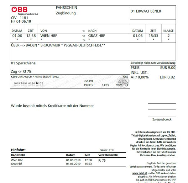 ウィーン-グラーツ電車_チケット1