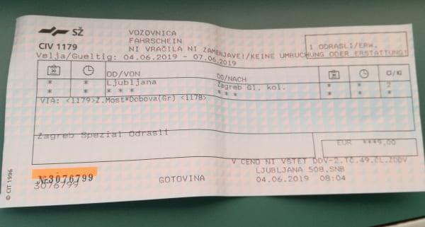 ザグレブ・リュブリャナ_切符