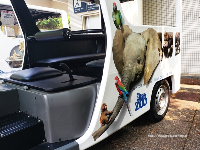 とべ動物園内を三輪電気自動車(EV)が走行