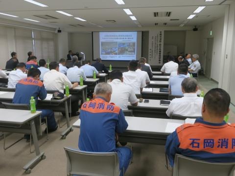 「石岡市消防・防災危機管理研修会」本県の防災・危機管理体制と消防の広域応援体制について、服部隆全部長⑦