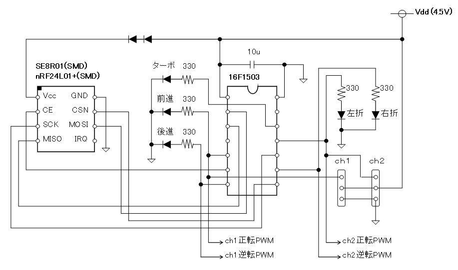 2.4GHzラジコンデモボード回路図(SE8R01・nRF24L01+SMD)受信側