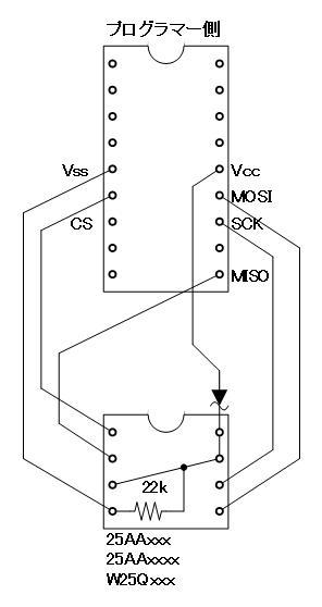 PICプログラマーでW25Q16の読み込み不具合の改修(W25Q16ソケットアダプタ回路)
