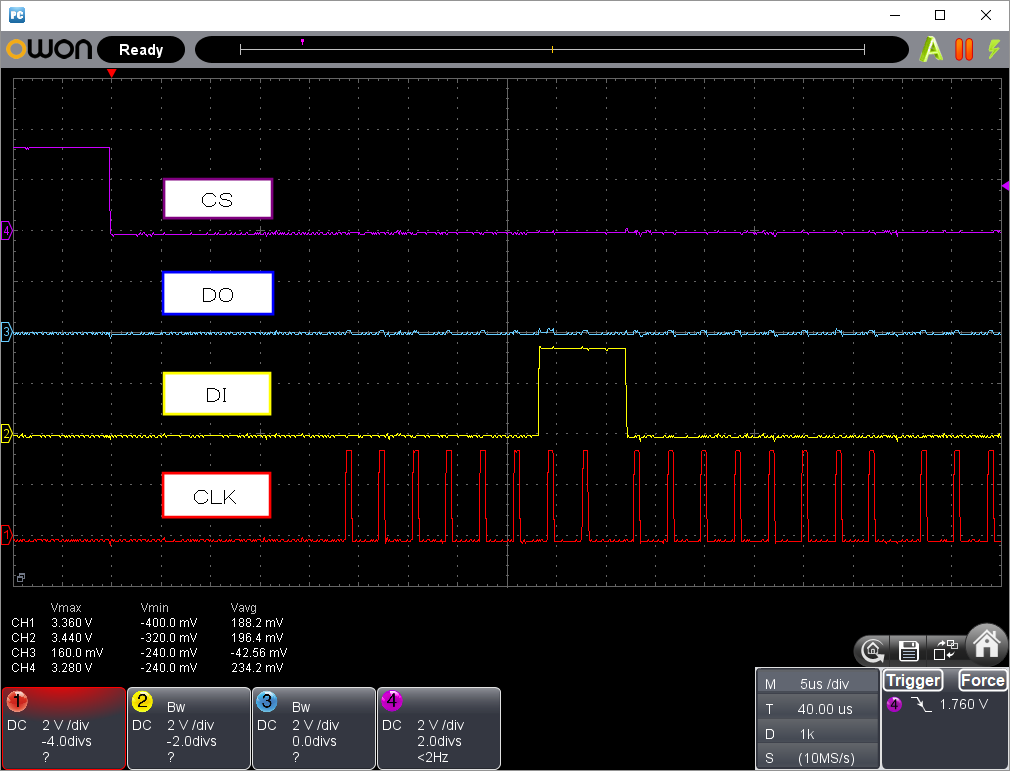 PICプログラマーでW25Q16の読み込み不具合の改修(SPI信号波形1)