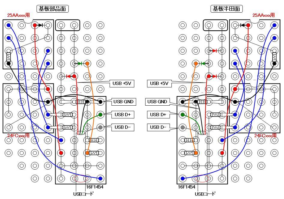 シリアルフラッシュROMライターの製作配線図改